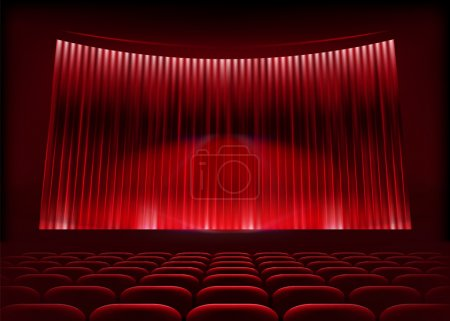 Cinema auditorium with stage curtain