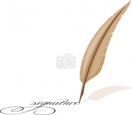 Illustration for Feather and signature vector illustration - Royalty Free Image