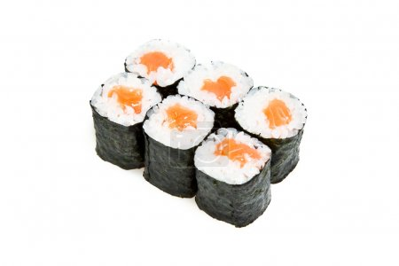 Close-up of maki sushi rolls with salmon