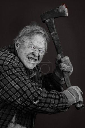 Very scary crazy old man with axe, great details, ...