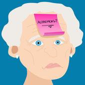 Starší žena s Alzheimerovou lístek s poznámkou