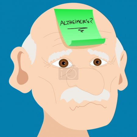 Illustration for Memory loss or mental illness concept: cartoon of senior man with alzheimer's and question mark on sticky note on forehead - Royalty Free Image