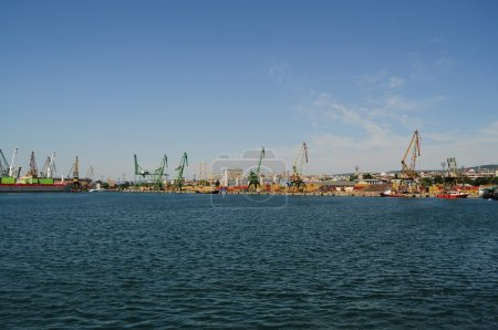Cranes and containers at harbour