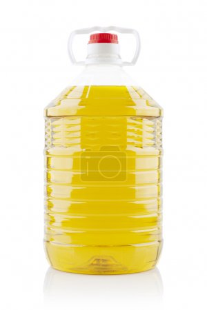 5 liters peanuts cooking oil on white background...