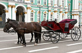Carriage with horses in the background of the Hermitage