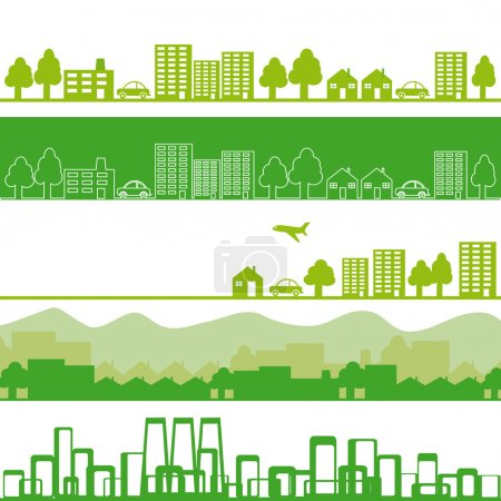 Illustration for Five banners with eco town - Royalty Free Image