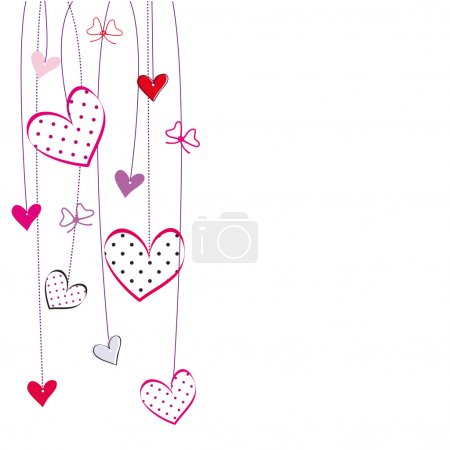 Illustration for Cute card with hearts on special day - Royalty Free Image