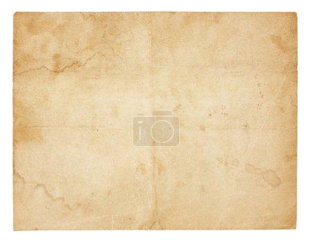 Photo pour Papier vieilli et usé avec plis, taches et taches. Isolé sur blanc. Comprend le chemin de coupe . - image libre de droit
