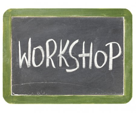 Photo for Workshop word in white chalk handwriting on a vintage slate blackboard, isolated on white - Royalty Free Image