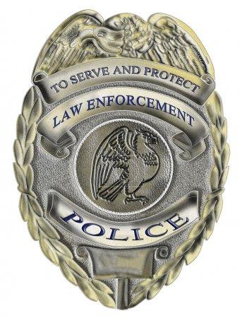 Photo pour Illustration d'un insigne policier du shérif sur fond blanc isolé - image libre de droit