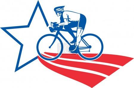 Photo pour Illustration d'un vélo de course cycliste placé à l'intérieur ovale vu de côté fait en étoile et rayures - image libre de droit