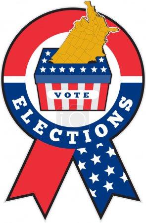 American election ballot box map of USA ribbon