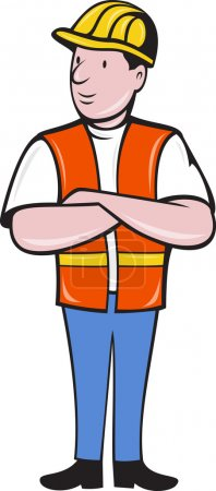 Photo pour Illustration d'un ouvrier de la construction vêtu d'un casque dur et d'un gilet de sécurité avec les bras croisés debout sur un fond isolé réalisé en style dessin animé - image libre de droit