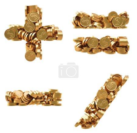 Photo pour Signes arithmétiques de pièces d'or. isolé sur blanc . - image libre de droit