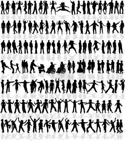 Illustration pour Grande collection de - 140 profils - image libre de droit