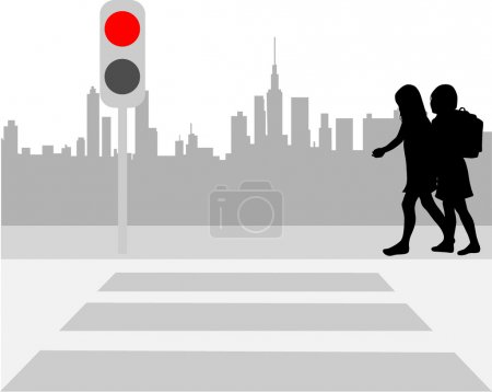 Illustration for Pedestrian crossing - vector illustration - Royalty Free Image