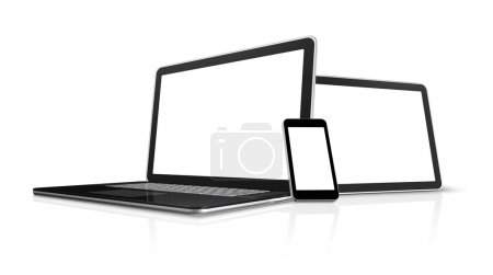 Photo for 3D laptop, mobile phone and digital tablet pc computer - isolated on white with clipping path - Royalty Free Image