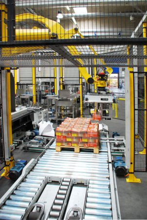 Photo for Automated packaging process line with robot - Royalty Free Image