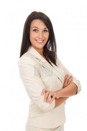 Photo for Smiling business woman standing with folded hands - Royalty Free Image