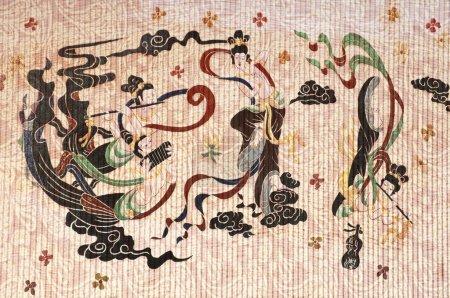 Geisha and texture background