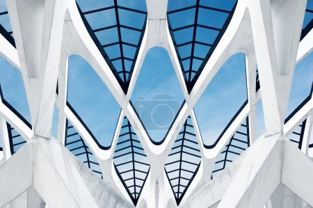 Photo for Part of the roof of the Lyon Saint Exupery airport railway station. Designed by Santiago Calatrava. - Royalty Free Image