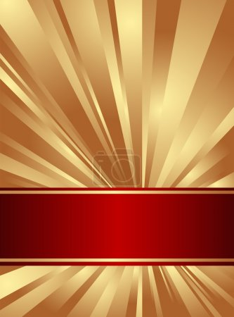 Illustration for Gold and red background with rays. Vector illustration. - Royalty Free Image