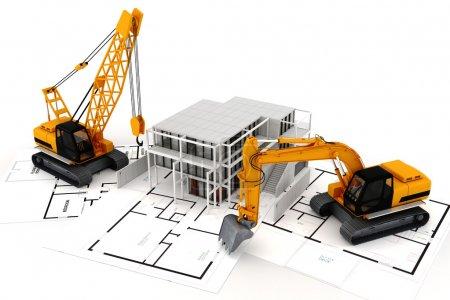 Photo pour 3d rendu du concept de construction, sur blanc - image libre de droit