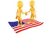 3D muž a usa vlajka, obchodní koncepce
