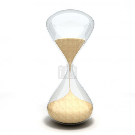 3d hourglass sandglass on white background