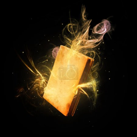 Photo pour Fermé livre magique étonnants rayons de lumière colorés et des stries . - image libre de droit