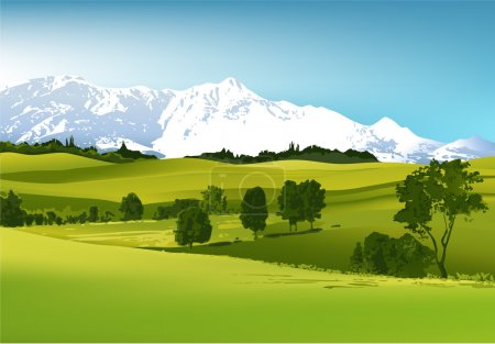 Illustration for Green landscape with high mountains - vector illustration - Royalty Free Image