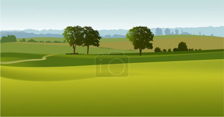 Illustration for Vector background with green country landscape - Royalty Free Image