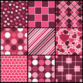 Set of nine pink vector patterns for Valentines day