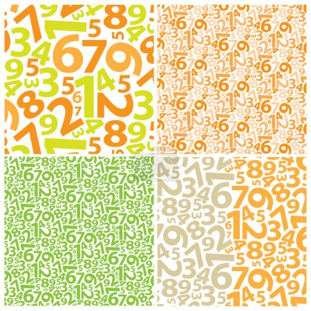 Illustration for Green and orange backgrounds with numbers - Royalty Free Image