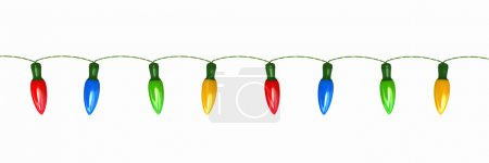 Photo for Seamless string of Christmas lights isolated on white - Royalty Free Image