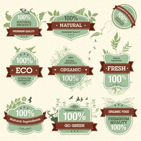 Illustration for Set of vector natural premium quality labels - Royalty Free Image