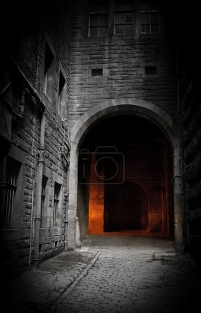 Photo for Dark courtyard (Edinburgh, Scotland) - Royalty Free Image