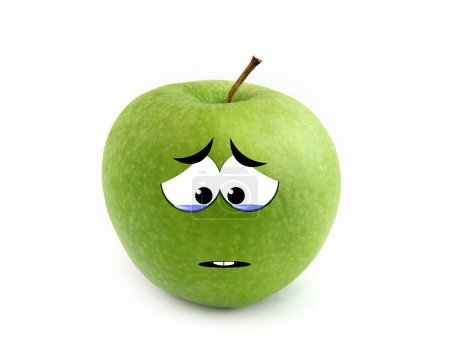 Photo for Crying apple isolated over white background - Royalty Free Image
