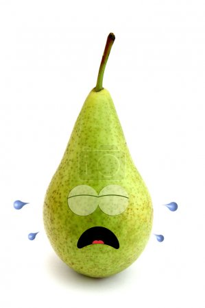 Photo for Crying pear isolated over white background - Royalty Free Image
