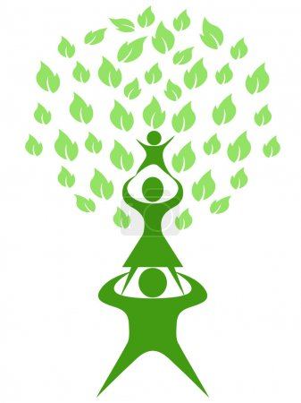 Illustration for Isolated green tree family on white background - Royalty Free Image