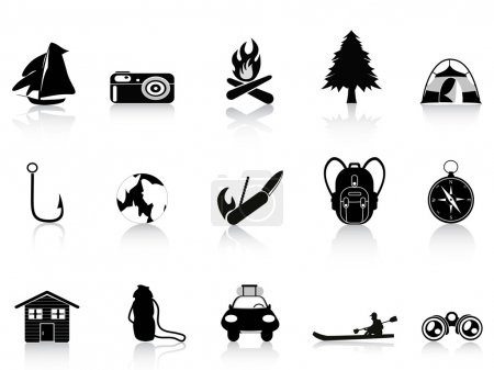Illustration for Black outdoors and camping icon - Royalty Free Image