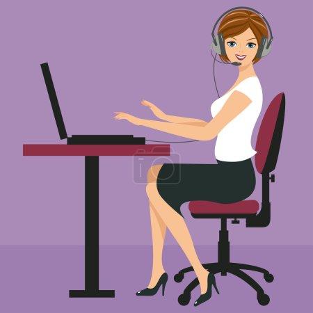 Illustration pour La jeune femme souriante s'assoit sur une chaise devant l'ordinateur portable et parle sur un casque. Les différents graphismes sont tous sur des couches séparées . - image libre de droit