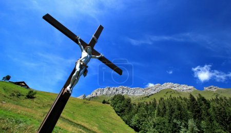 Jesus on the cross in the mountain