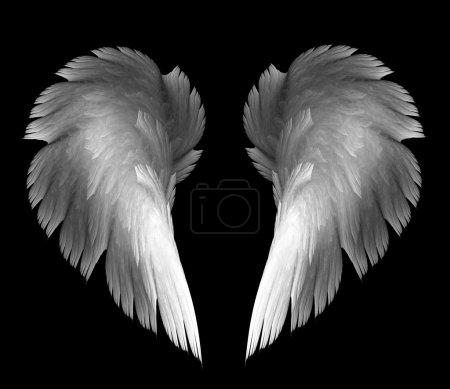 Photo pour Ailes d'ange lumineux sur fond noir - image libre de droit