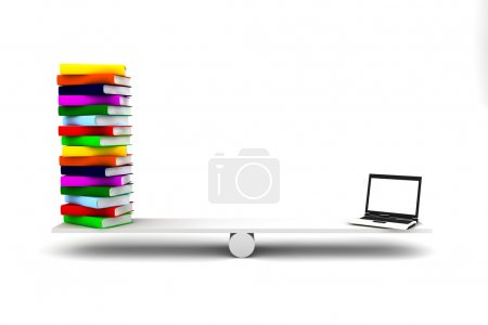 Computer and books over a balance