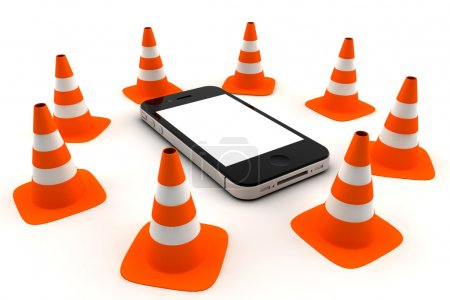 Phone with traffic cones