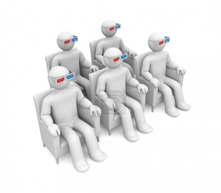 Group of person in 3d glasses