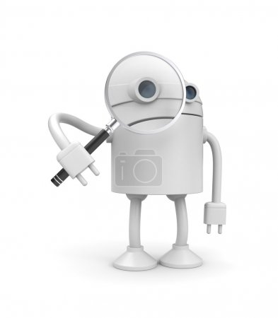 Robot with magnify glass