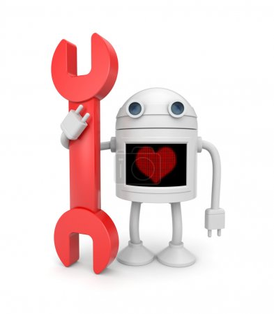 Love for work. Robot worker