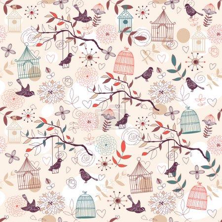 Illustration pour Nature Modèle avec oiseaux, cages à oiseaux, plantes, fleurs. Vecteur . - image libre de droit
